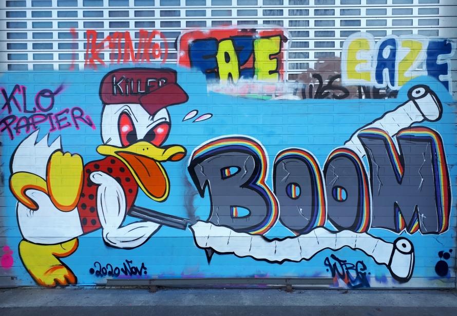 Foto: Graffiti auf einem großen Garagentor: Donald Duck mit einem Gewehr, aus dem Klopapier schießt und der Schrift Klopapier Killer Boom