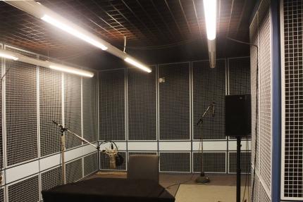 Foto zeigt einen rundum schalldichten Raum mit gepolsterten Wänden. Es stehen ein Tisch und zwei Mikrofone an Stativen darin.