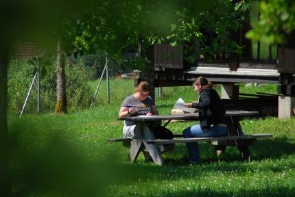 Foto, das zwei Mädchen zeigt, die konzentriert schreiben.
